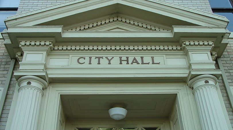 front of a city hall building